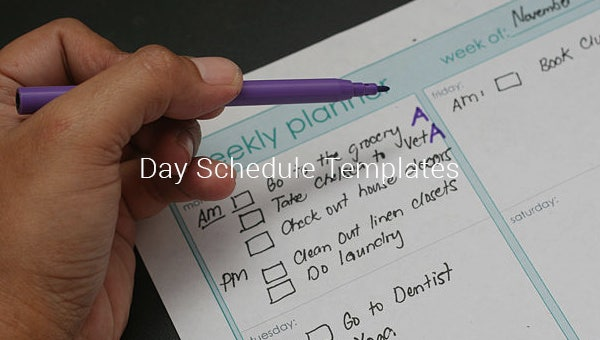 day schedule templates