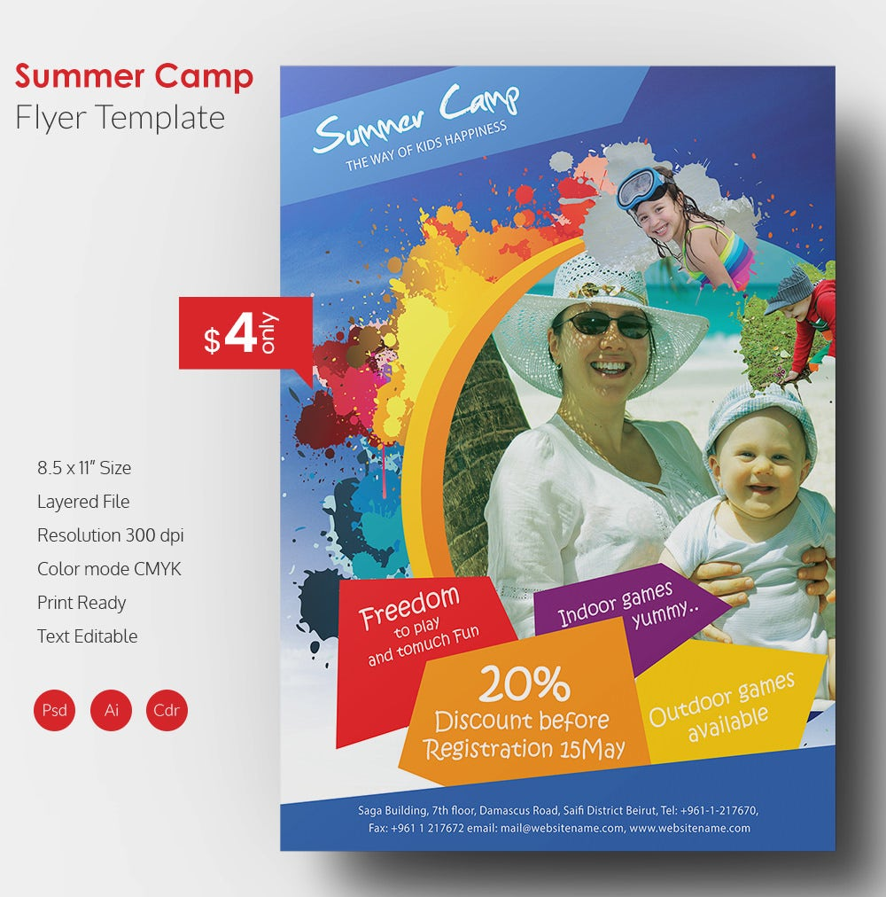 summer camp flyer template 41 free jpg psd esi indesign format download free premium. Black Bedroom Furniture Sets. Home Design Ideas