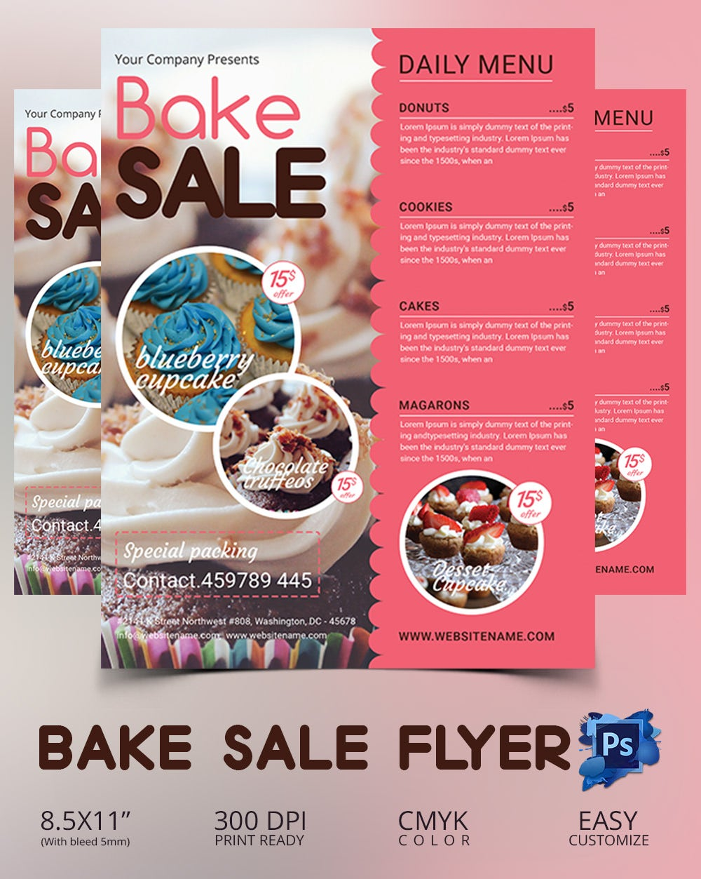 bake flyer psd indesign ai format bake flyer template