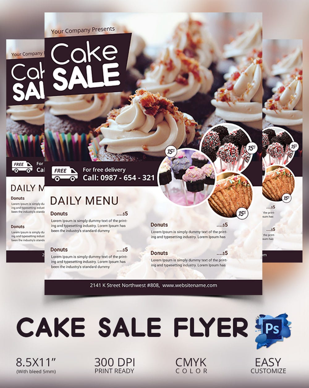 bake flyer psd indesign ai format cake flyer template