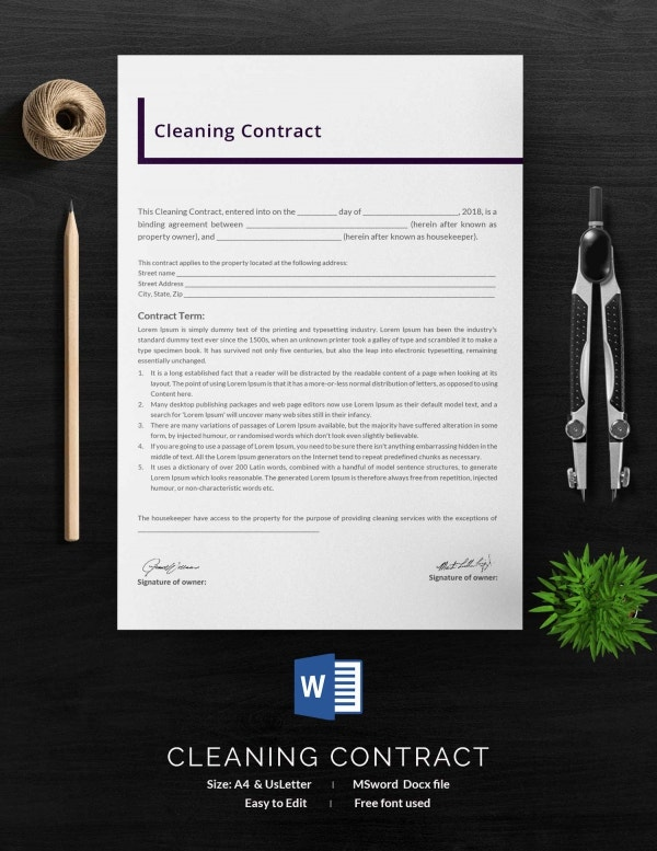 janitorial service contract template - cleaning contract template 27 word pdf documents