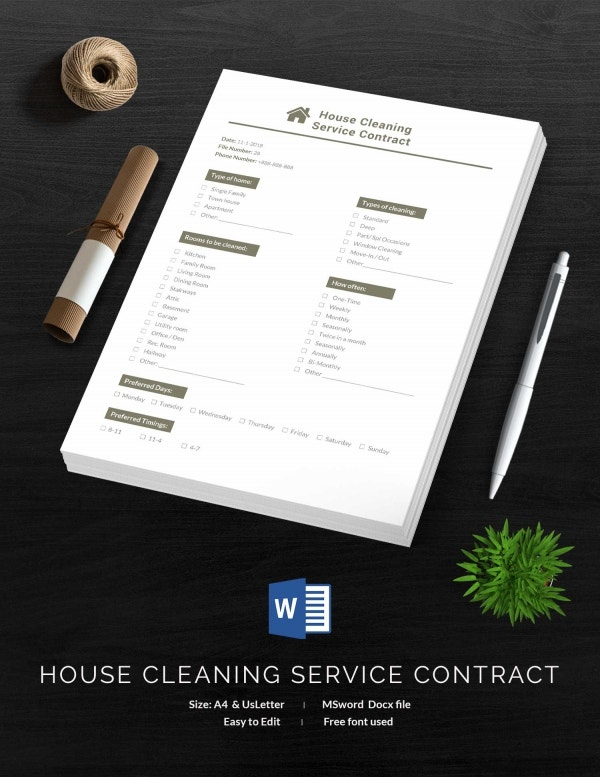 It is a graphic of Trust House Cleaning Contract Template