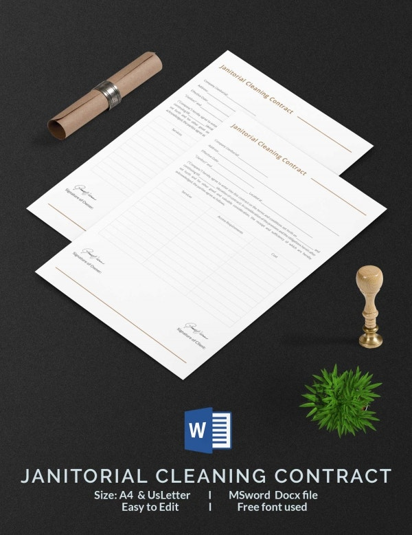 Janitorial Cleaning Contract Template