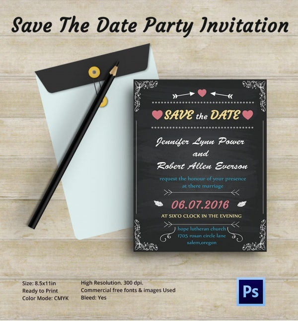 Chalkboard Save the Date Invitation Card