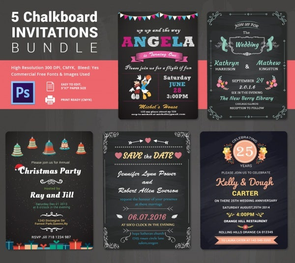 5 Chalk Board Invitations Template