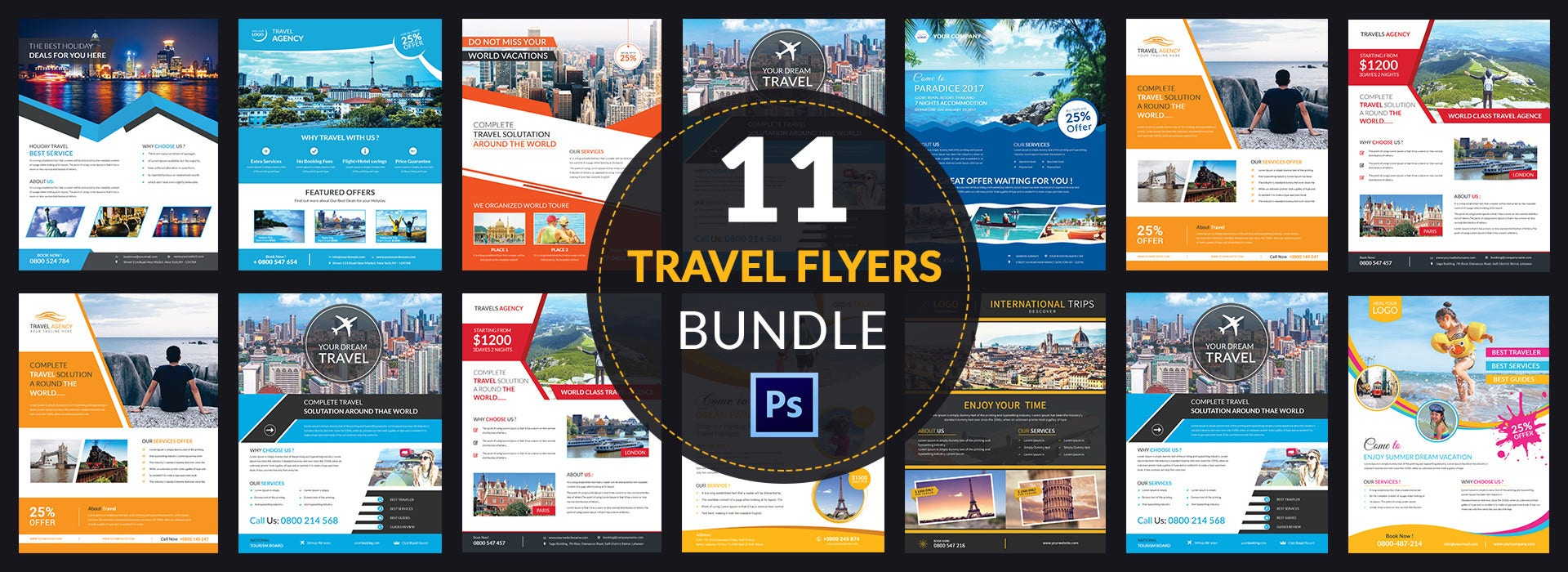 12 Travel Flyer Templates Bundle