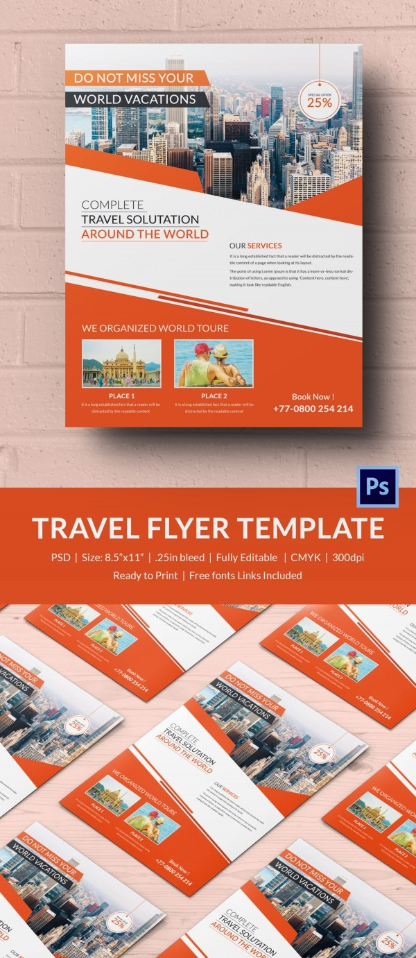 Designed Travel Flyer Template