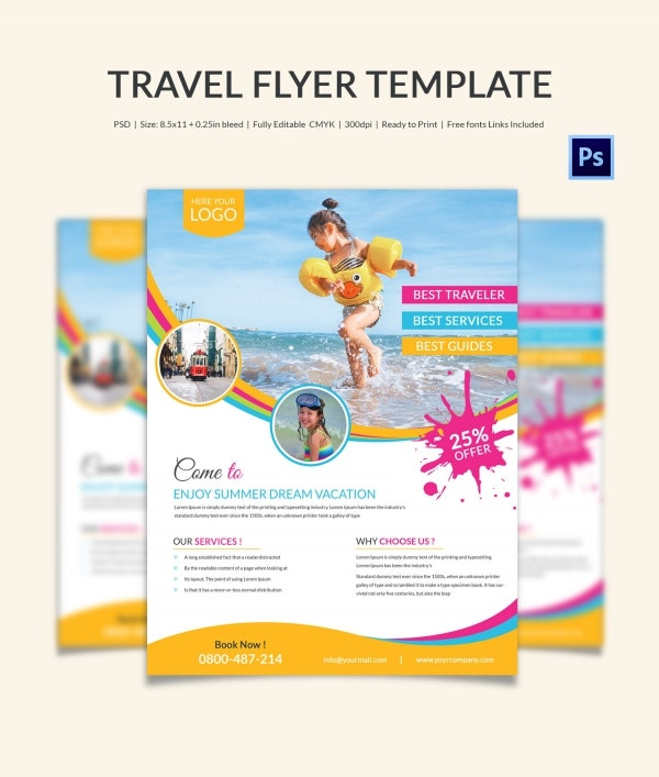 Travel flyer template 43 free psd ai vector eps for Pool design templates