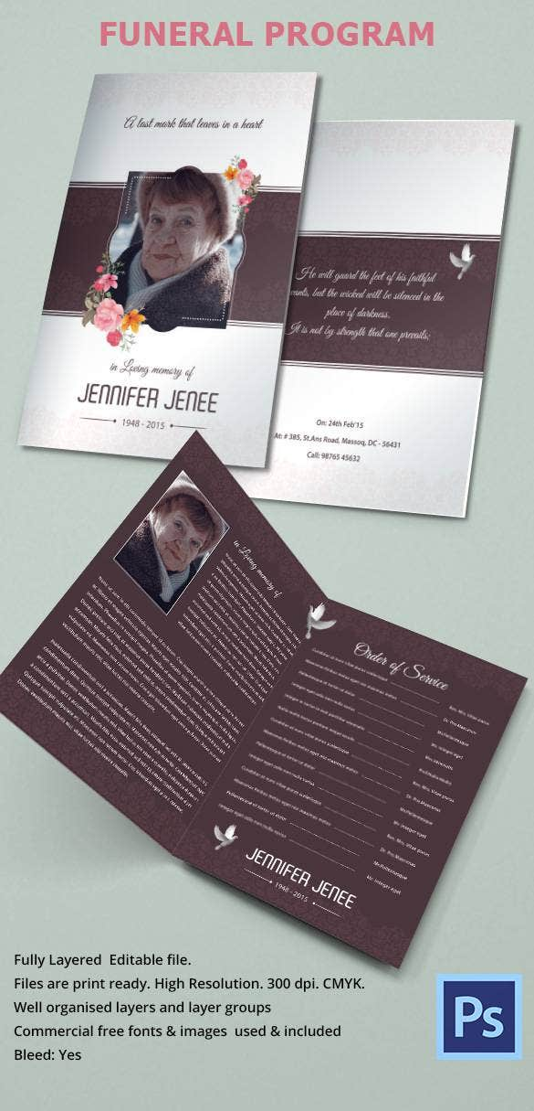 Funeral obituary template 22 free word excel pdf psd for Program brochure templates