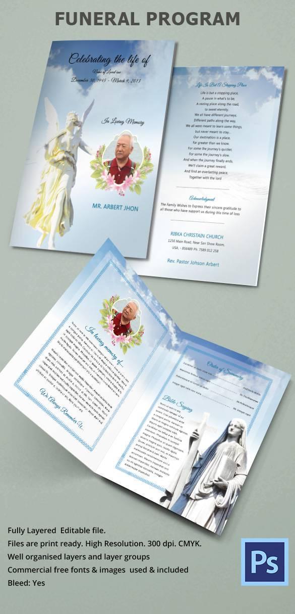 bifold funeral program template .