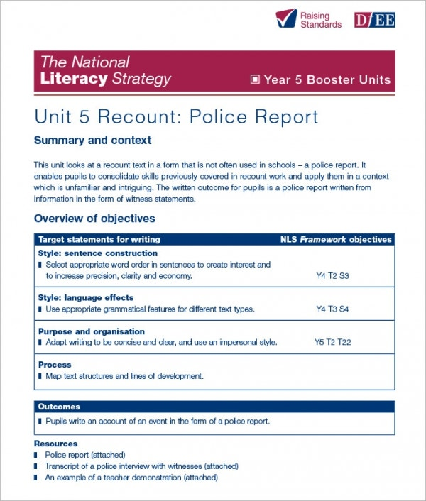 Sample Police Report Template 13 Free Word PDF Documents – Police Report Format