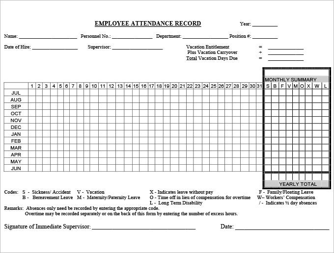5 Time and Attendance Forms HR Templates – Employee Attendance Record Template