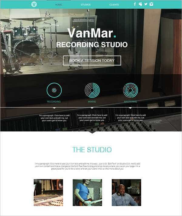 free php music studio website template 111