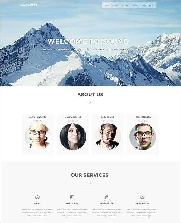 squadfree free bootstrap php template11