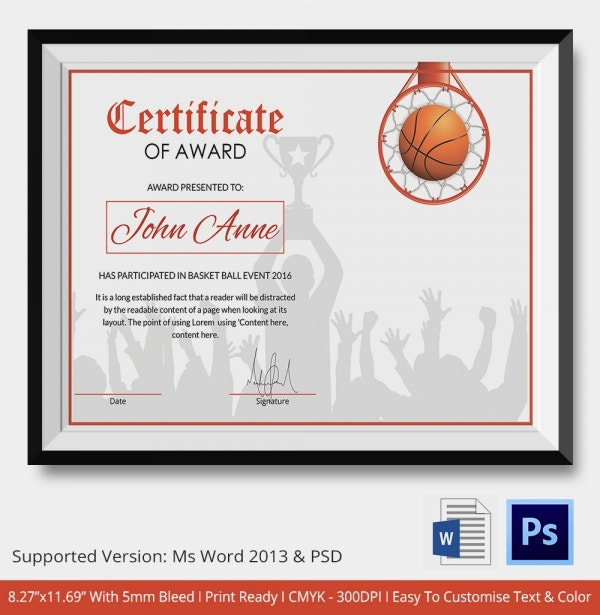 basketball certificate template 12 free word pdf psd