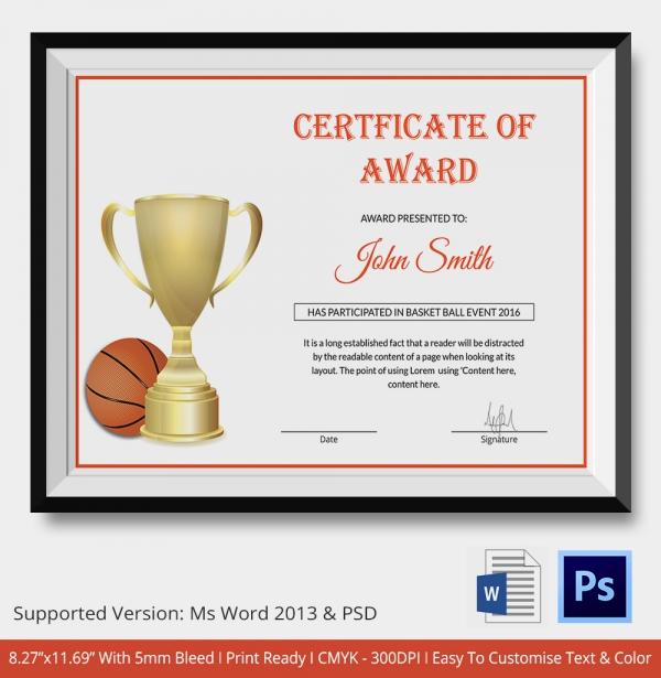 Premium BasketBall Certificate Template Download
