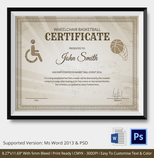 Basketball Certificate Template 14 Free Word PDF PSD Format – Basketball Certificate Template