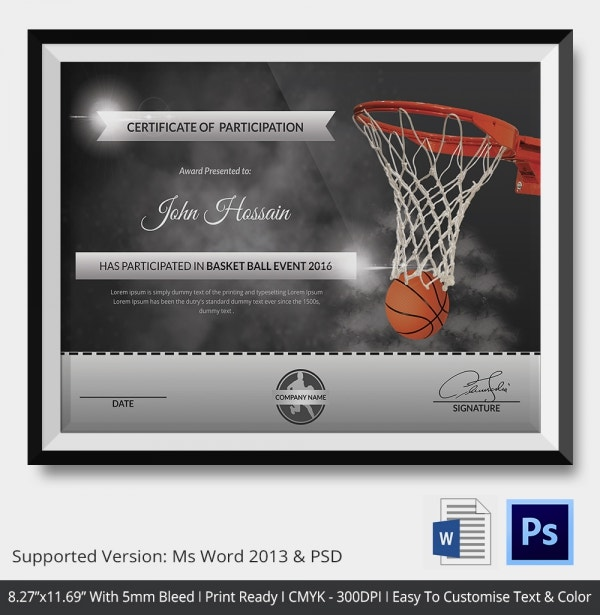 Basketball Template Award Sports Certificates Word. Basketball