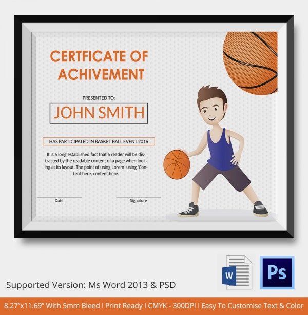 Sports certificate in pdf soccer certificate of participation basketball certificate template 14 free word pdf psd format yadclub