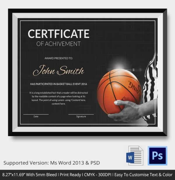 Achievement of Basketball Certificate