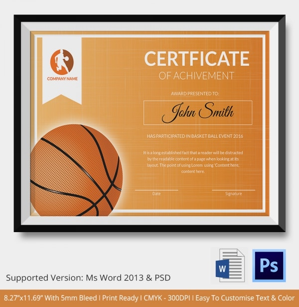 team certificate template - basketball certificate template 14 free word pdf psd