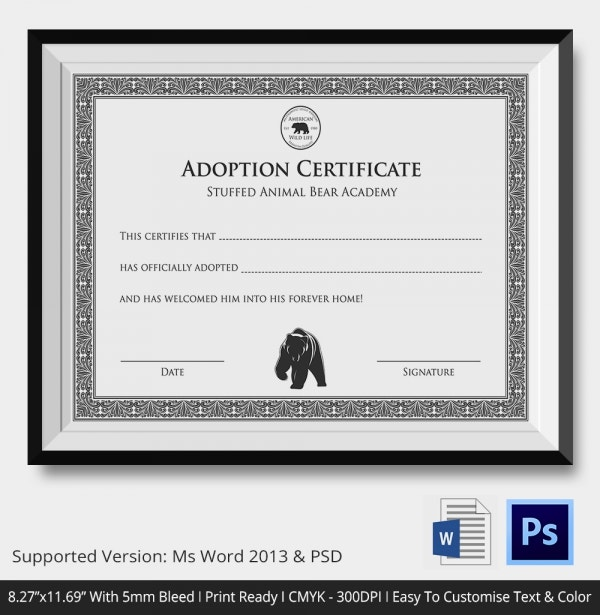 Adoption Certificate Stuffed Animal Bear Academic Certificate