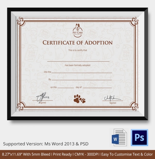 adoption certificate template adoption certificate template 12 free pdf psd format