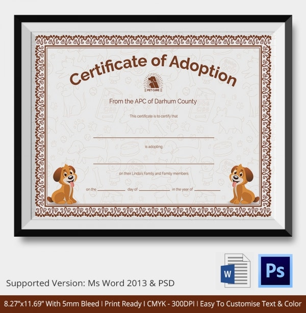 Adoption Certificate Template - 12 Free Pdf, Psd Format Download