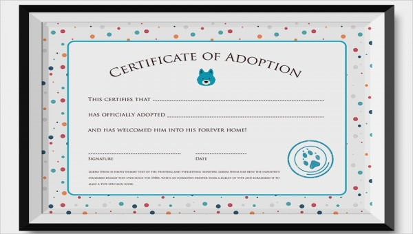 adoption certificate download