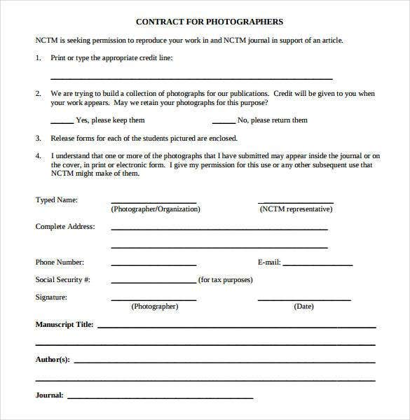 Photography Contract Template – 18+ Free Word, PDF Documents ...