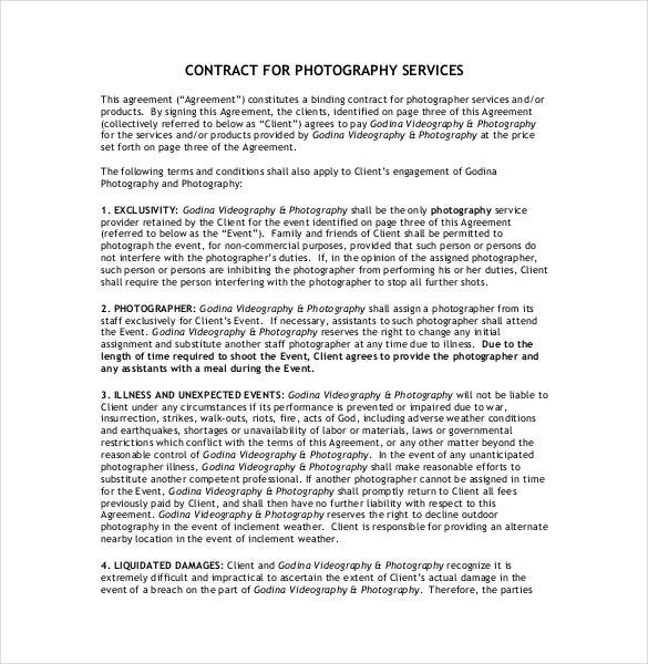 Contract For Photography Service