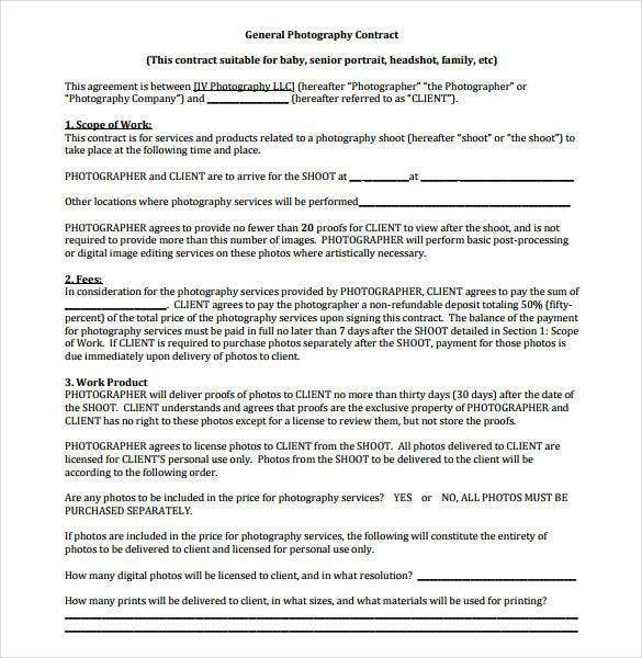 22  photography contract templates  u2013 word  pdf  apple