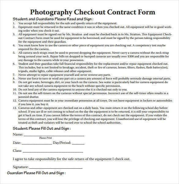 Photography Contract Template   Free Word Pdf Documents  Free