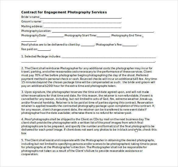 simple photography contract