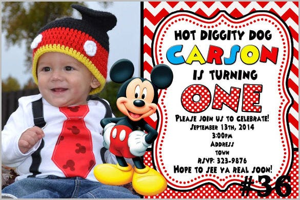 mickey mouse invitation photo you print printable