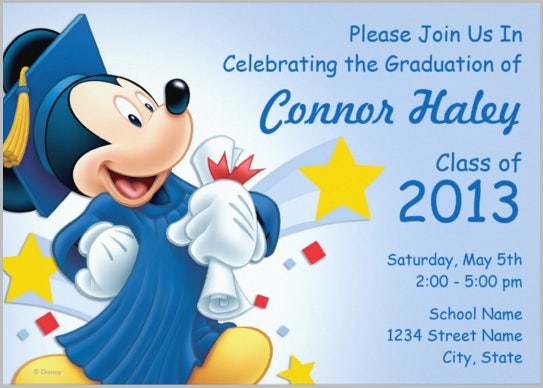 mickey graduation invitation card mickey mouse photo invitation mickey mouse party