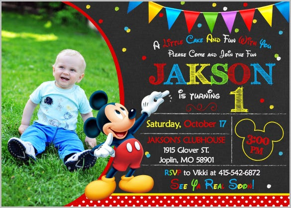 simple black mickey mouse invitation birthday mickey mouse party