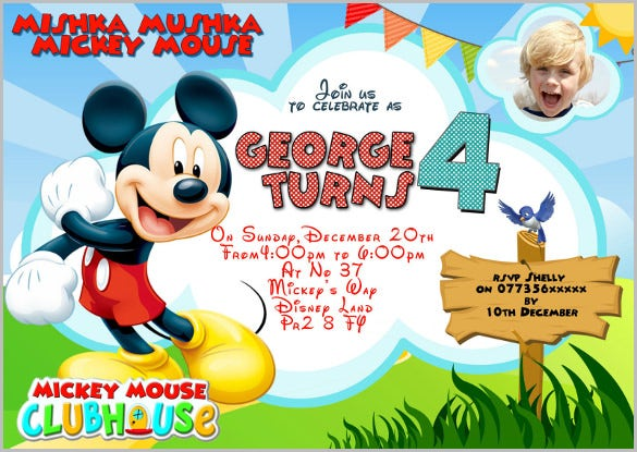 mickey birthday invitations | wblqual, Birthday invitations