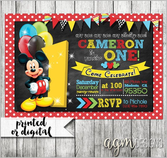 mickey mouse invitation template – 23+ free psd, vector eps, ai, Invitation templates