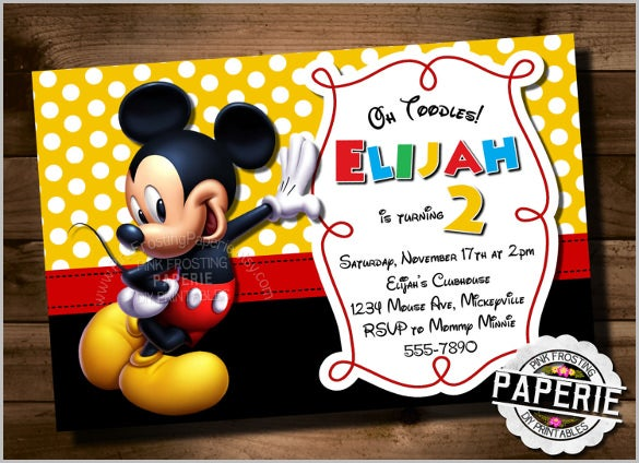 photo relating to Free Printable Mickey Mouse 1st Birthday Invitations called Mickey Mouse Invitation Templates 26+ Absolutely free PSD, Vector EPS