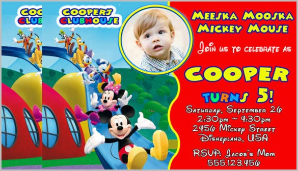 cute mickey mouse clubhouse birthday party invitation with images