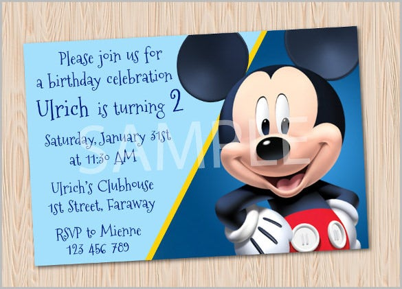maryanncolors disney mickey mouse birthday party invitation card