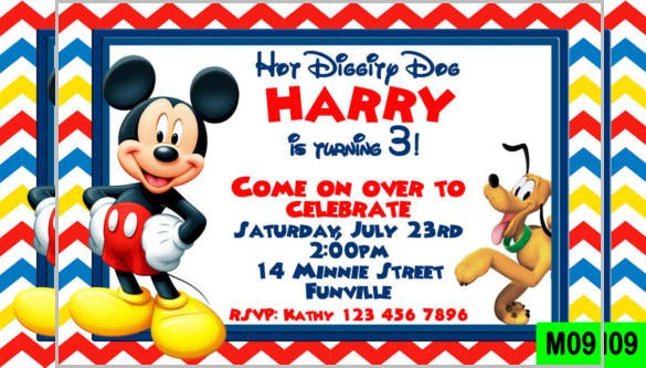 red mickey mouse birthday invitation
