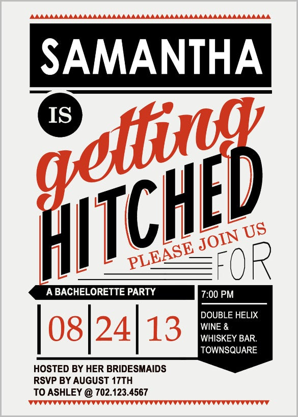 simple hitched bachelorotte party invtation