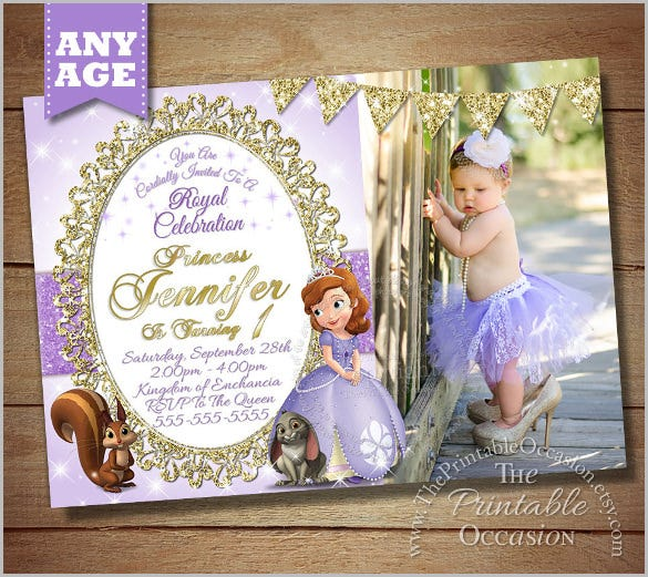 princess photo invitation sofia the first birthday party invitation