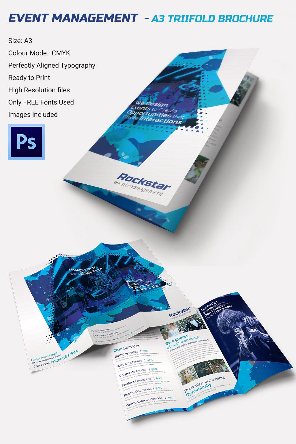 16 event brochure templates psd designs free for Tri brochure template