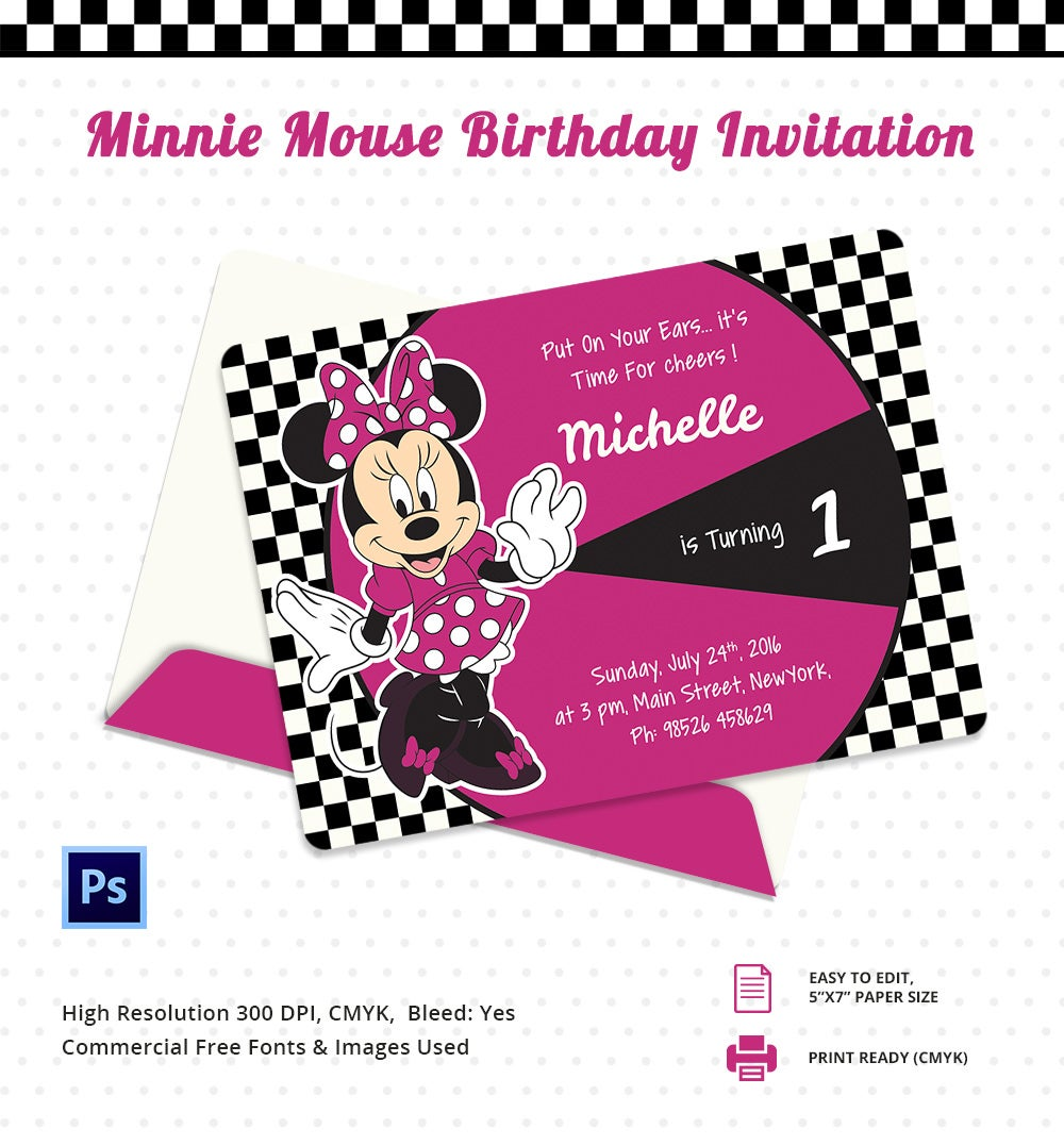 Minnie Mouse Bithday Party Invitation Card Template
