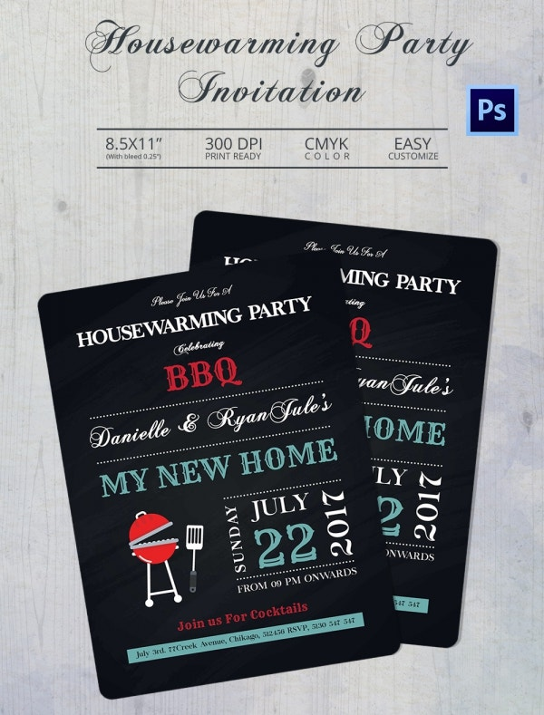 BBQ Housewarming Invitation Template