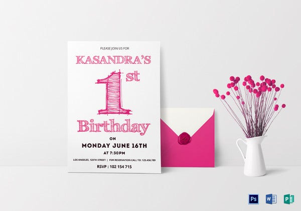 1st birthday party invitation card psd template