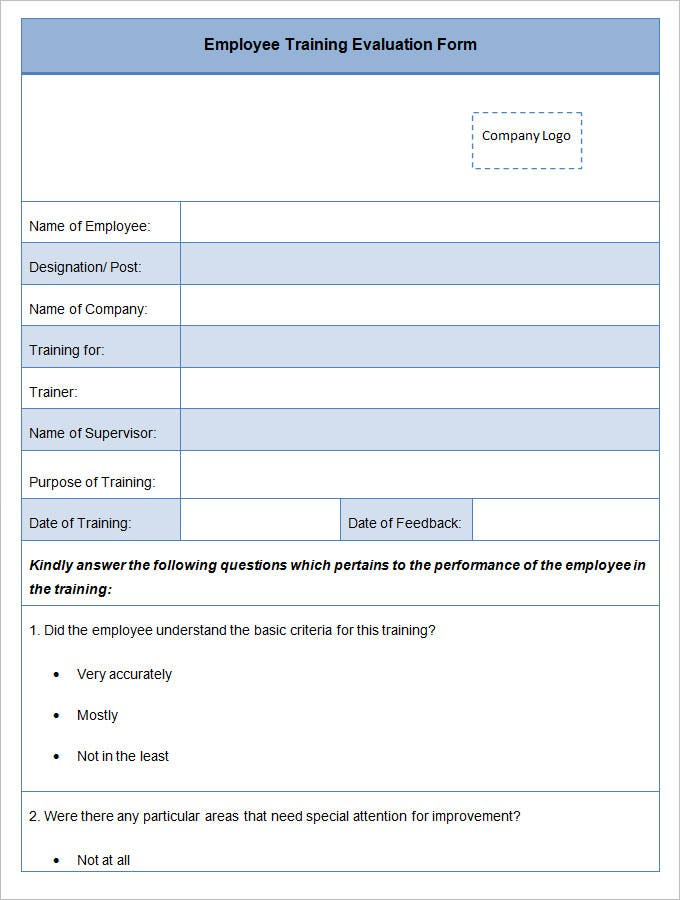 13 HR Evaluation Forms HR Templates – Training Feedback Template
